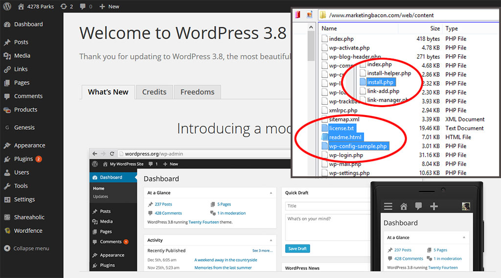 wordpress update files to delete