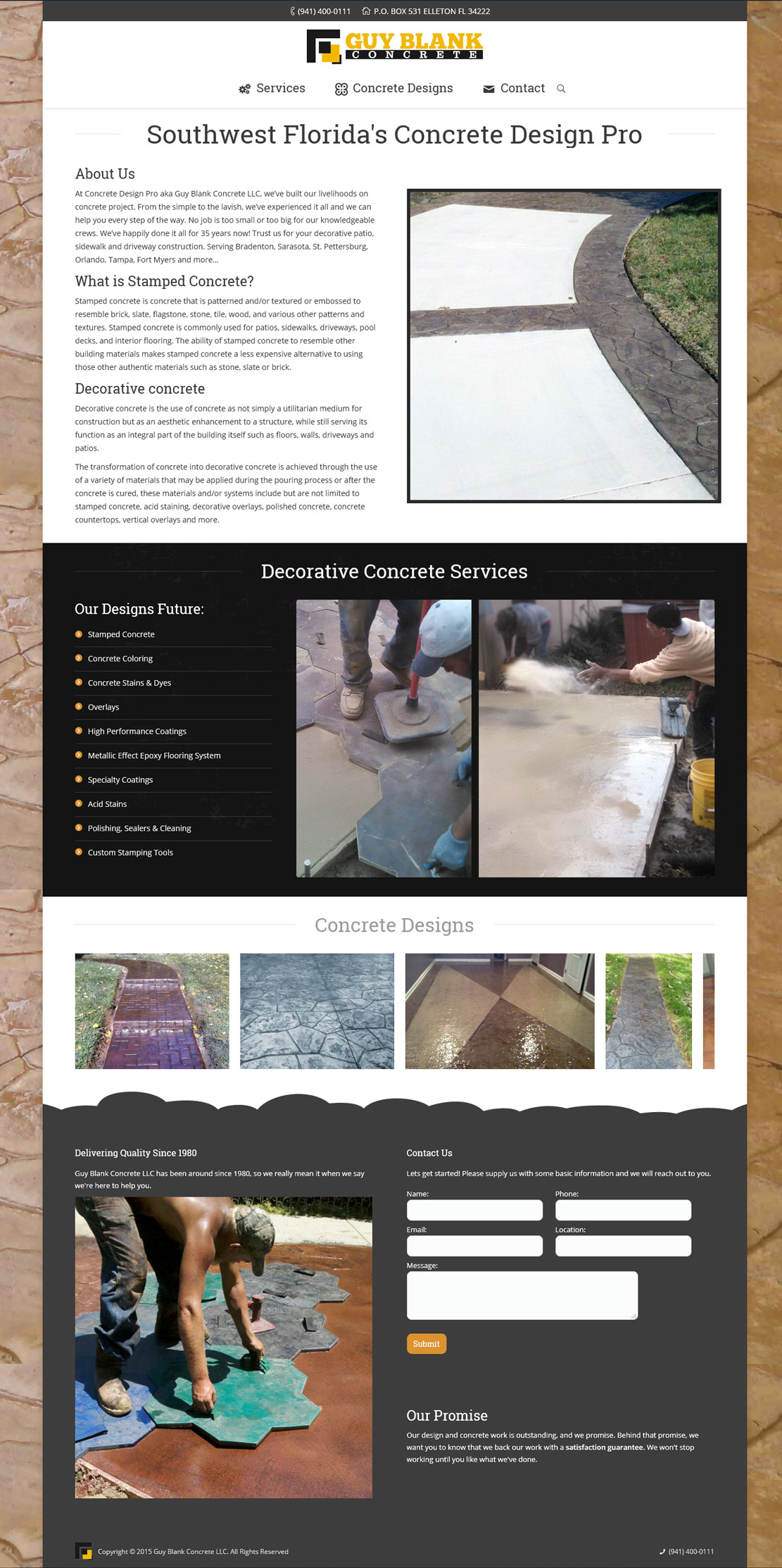 concrete one page website